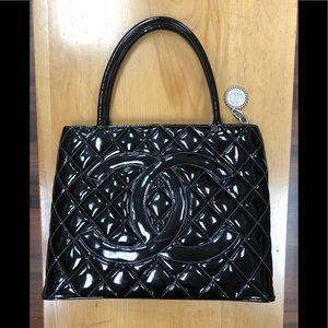 Chanel Black Patent Leather Medallion Handbag